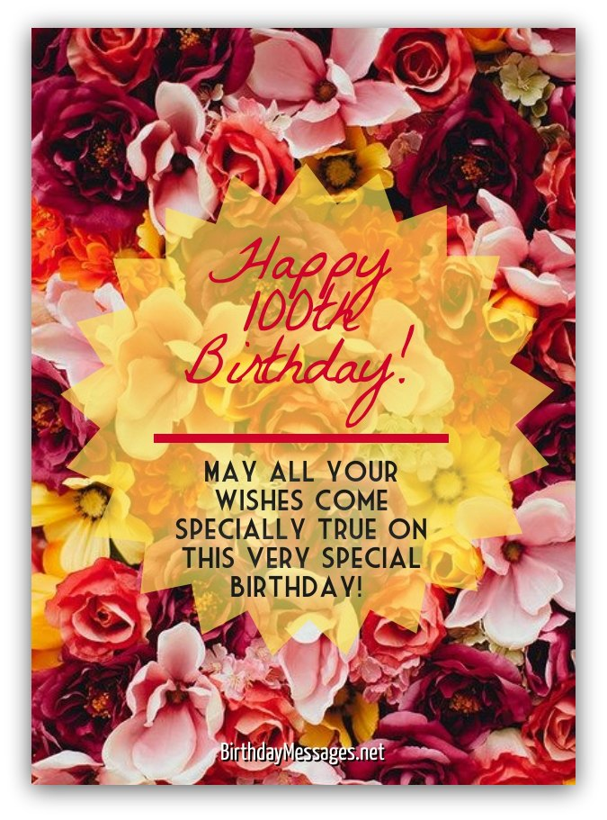 100th Birthday Wishes Messages For 100 Year Olds Download ECard