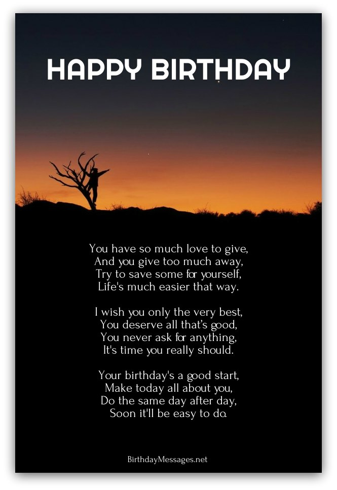Best Happy Birthday Wishes To Yourself Inspirational Poems Page