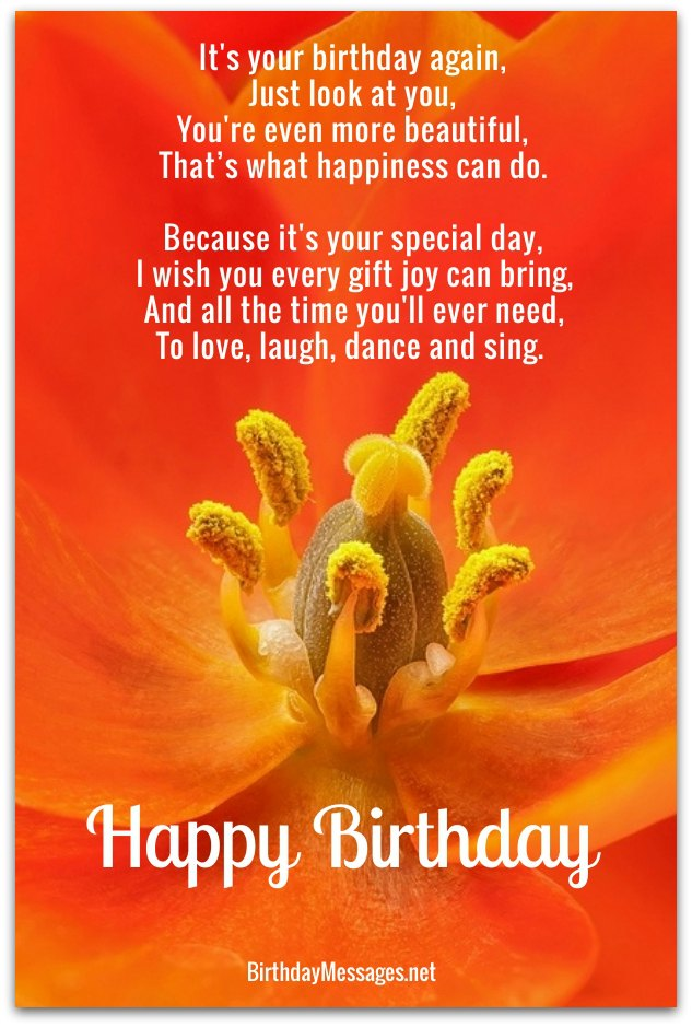 Cute Birthday Poems - Cute Birthday Messages