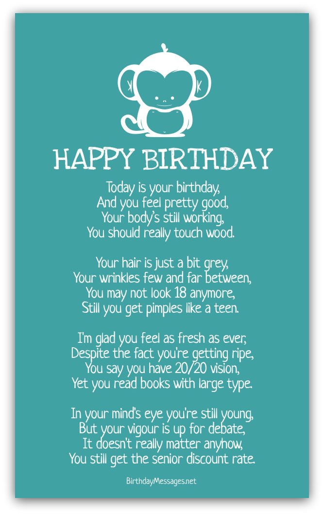 Funny birthday poems funny birthday messages for What should you get a guy for his birthday