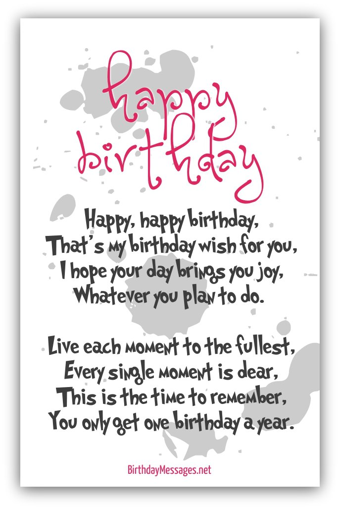 Happy Birthday Poems Happy Birthday Messages – Text for Birthday Card