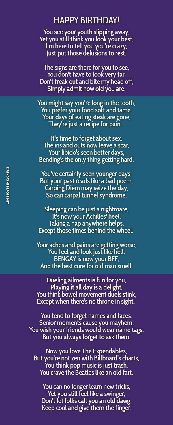 Original birthday Poems - Funny Birthday Poems